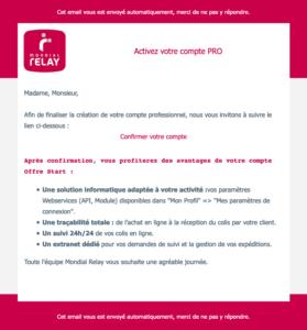 mondial relay wordpress account confirmation